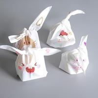 DoreenBeads Cute Animal Cookies Bag 50pcs Wedding Decoration Kawaii Easter Rabbit Ear Plastic Candy Gift Bag