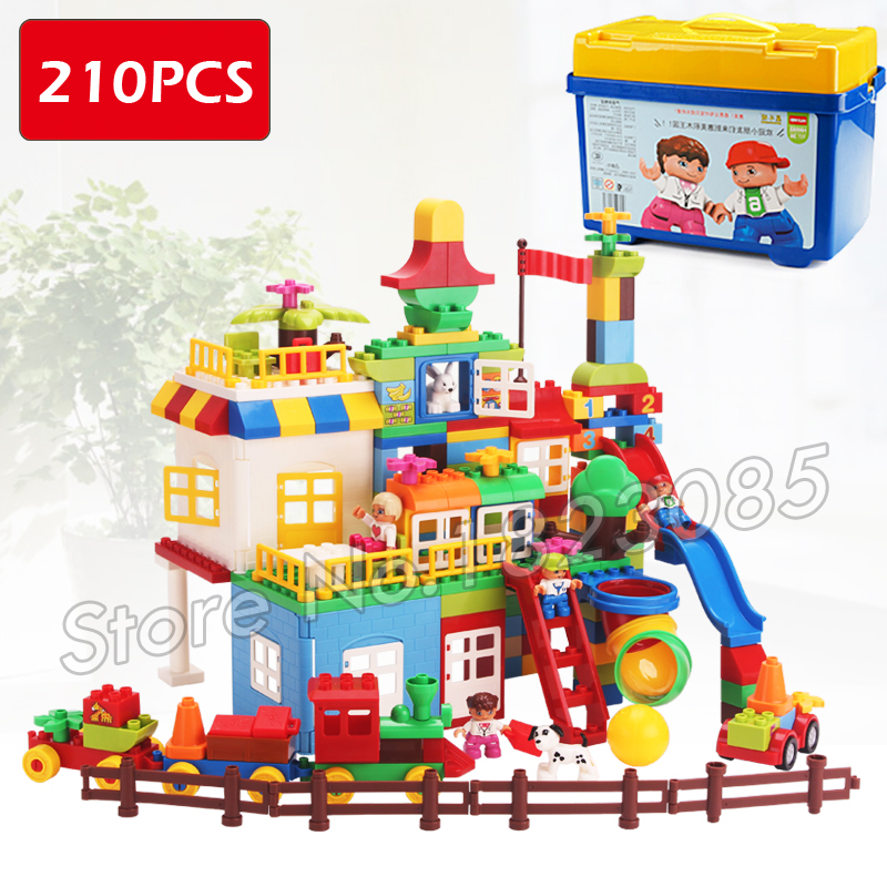 210pcs My First Castle Amusement Park Model Big Size Building Blocks Bricks Kids Toys Compatible With Lego Duplo my first animals
