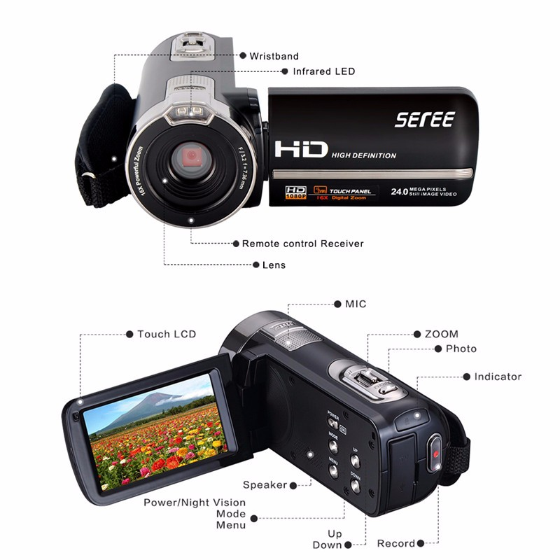 Marvie FHD 1080P 30FPSDigital Video Camcorder Night Vision Wide Angle Macro Fisheye Shooting 24MP 3 Inch Touch Screen Camera 4
