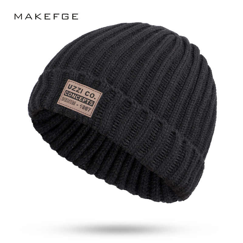 43045763b1bb0 Men's winter knit cotton caps warm and comfortable unisex ladies ski hats  solid color male leather