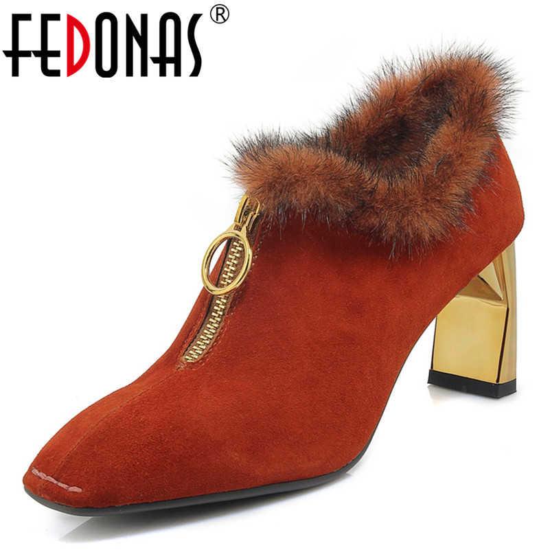 FEDONAS Autumn Winter Women New Fashion Fur Shoes High Heels Warm Short Ladies Shoes Ladies Party Wedding Shoes Woman New PumpsFEDONAS Autumn Winter Women New Fashion Fur Shoes High Heels Warm Short Ladies Shoes Ladies Party Wedding Shoes Woman New Pumps