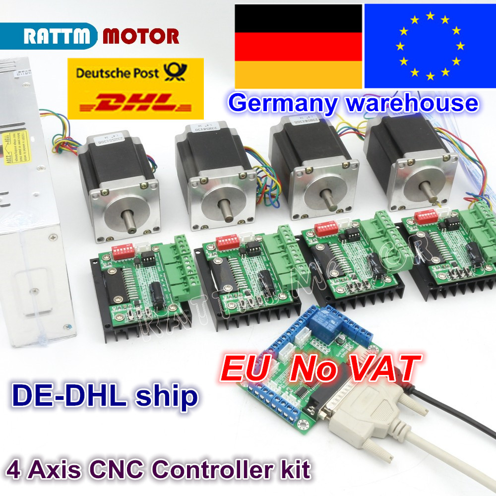 4 Axis CNC Router Kit! 4pcs 1 axis TB6560 driver & interface board & 4pcs Nema23 270 Oz-in stepper motor & 350W Power supply цена