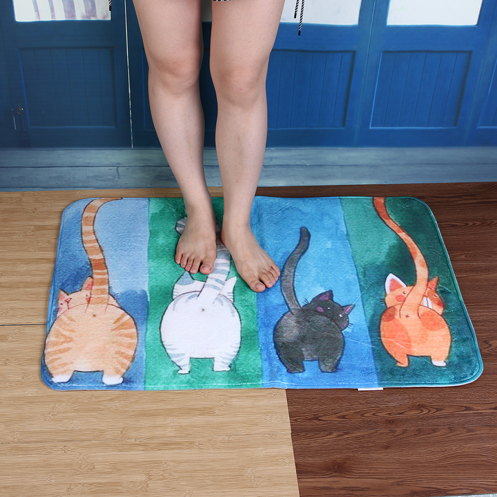 Quarto Banheiro Tapete Antiderrapante Bibulous Aquarela Gato
