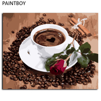 Frameless Canvas Painting By Numbers DIY Picture Oil Painting On Canvas For Home Decor Coffee And