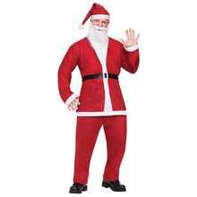 2017 New Arrival Plus Size Adult Costume Santa Claus Suit Christmas Costumes For Men Coat Pants Beard Belt Hat Set Christmas Set