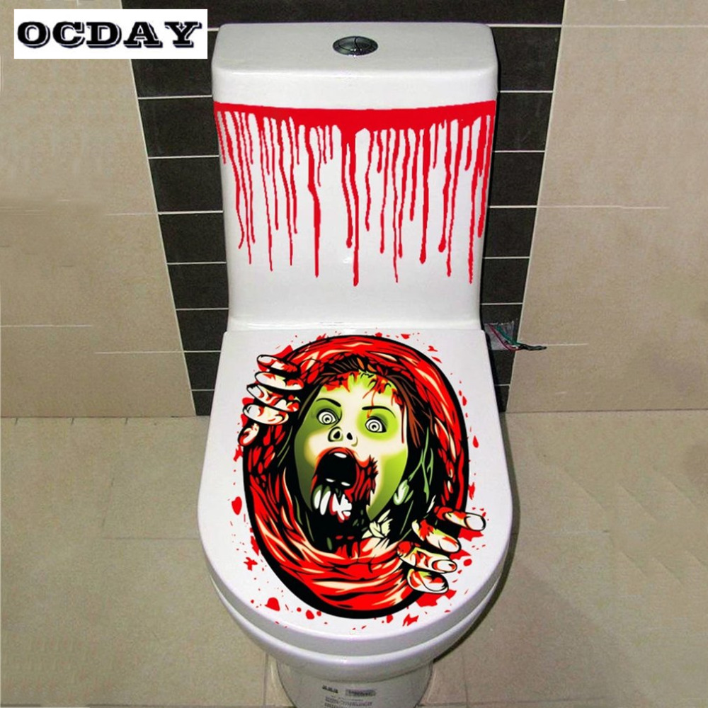 OCDAY Scary Toilet Seat Stickers Children Halloween Toys Toilet Lid Halloween Horror Costume Party Decor Kids Gag Toys Gifts