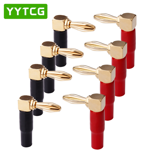YYTCG 8Pcs Right Angle 90 Degree 4mm Banana Plug Screw L Type for Binding Post Amplifiers Video Speaker Adapter Connector