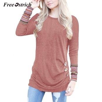 080e4ca9489b Libre De avestruz mujer blusas otoño 2019 Botón De manga larga estampado De  cuello O Abbigliamento Donna ropa femenina Blusa De Frio De N30