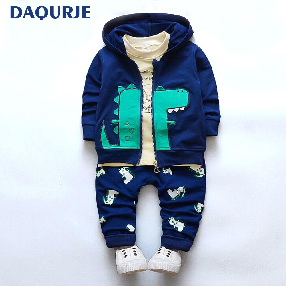 Fashion Kids Baby Boys /Girls Clothes Casual Cartoon Dinosaur Children Clothing T-shirt+Jacket+Pants 3PCS Clothing Sets For 0-3Y 2016 winter children s clothing set kids cartoon t shirt hoodie coat pants 3pcs suit baby boys autumn casual clothing