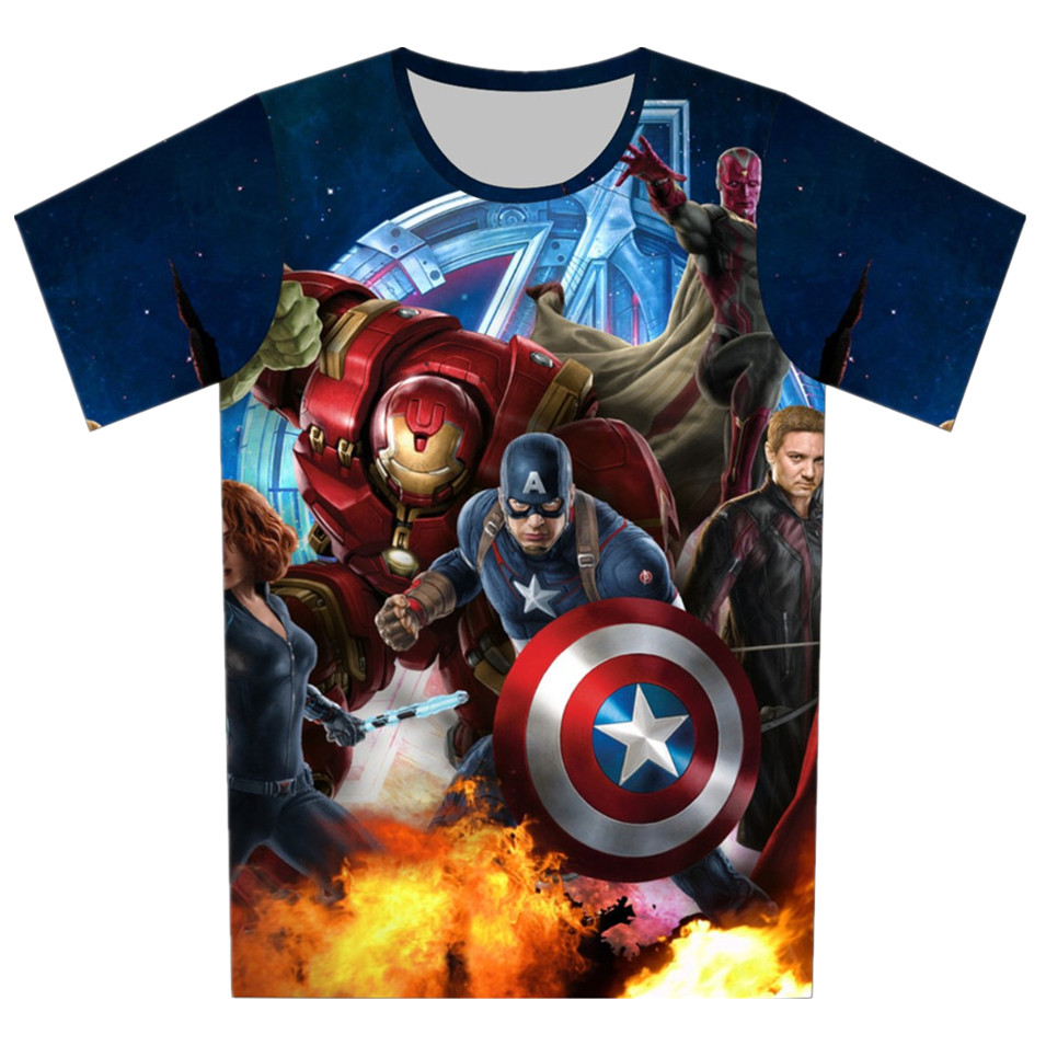 Joyonly 2018 Summer Girls Boys Avengers T shirt Baby Kids Cool 3d T-shirt Children Super Hero Tops Baby Brand Tee For 4-20 Years плащ женский only цвет бежевый 15168898 размер l 46