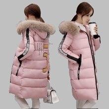 Зимняя Куртка Женщин 2016 Новый Корейский Средней Длины Толщиной Вниз хлопок Пальто Большой Енота Меховым Воротником С Капюшоном Большой размер Куртки CoatAB208