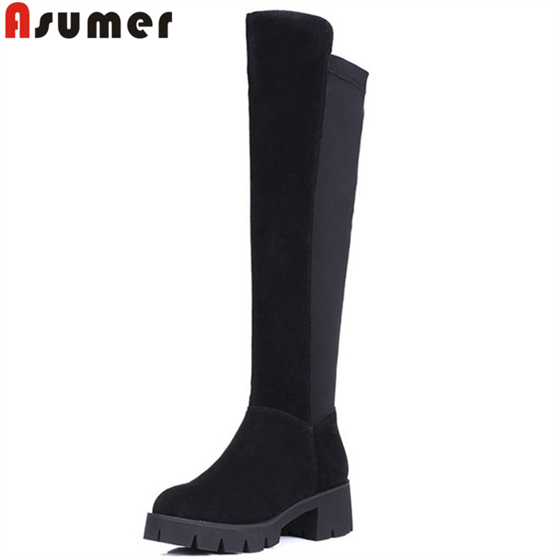 ASUMER black fashion winter boots women round toe platform knee high boots square heel suede leather