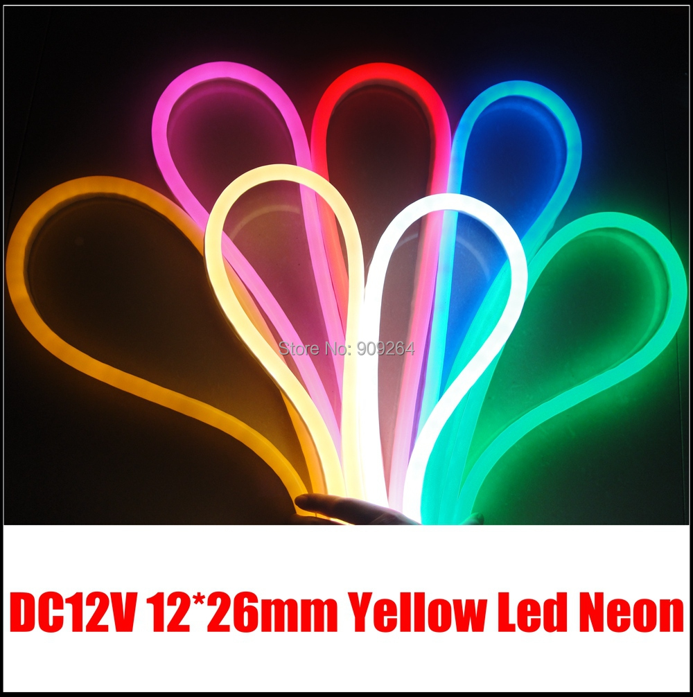 Yellow DC12V led neon flex 12*26mm, 10m/lot neon flex for diy lights project,80leds/meter,brand new nao for all we know neon yellow