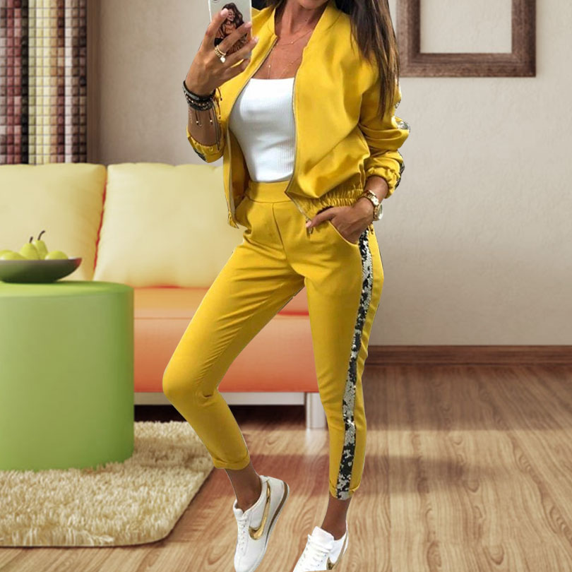 Spliced Sequins women sport suit two piece set hooded+pants Patchwork ladies fashion Tracksuit 2 piece sets for girl