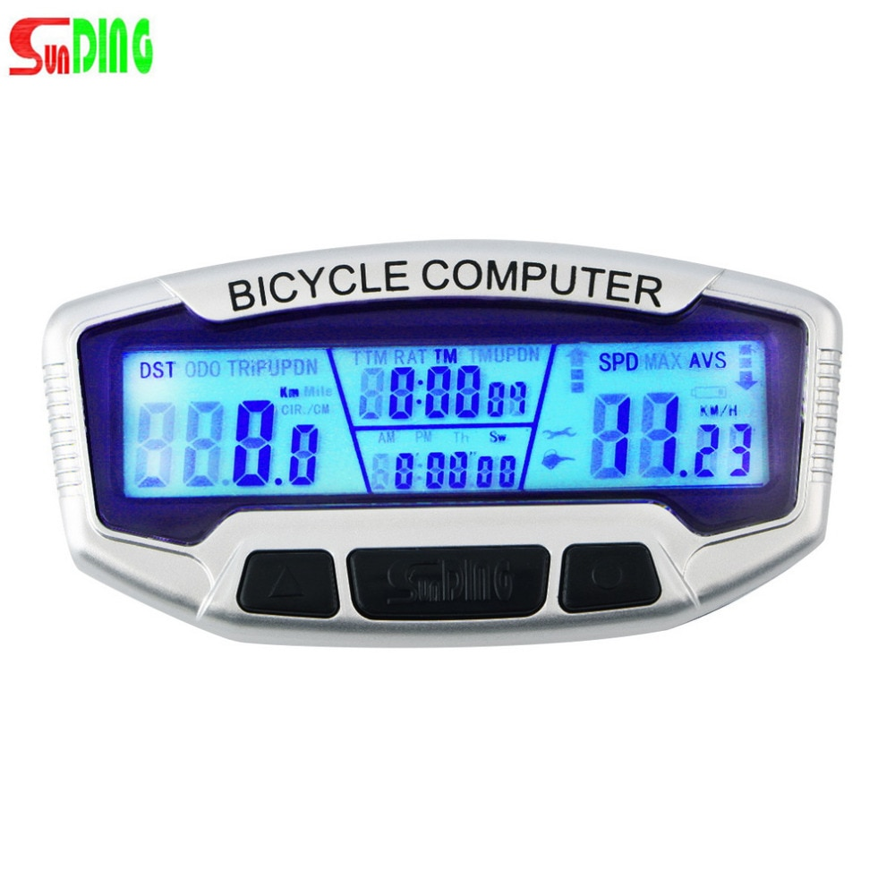 цена на Digital LCD Display Bicycle Computer Bike Odometer Speedometer Blue Backlight Thermometer Clock Stopwatch Cycling Accessories