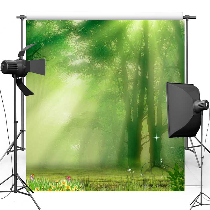 Vinyl Cloth Photography Backdrops Sunshine Forest Floral New Fabric Polyester backgrounds for Wedding photo studio F1048