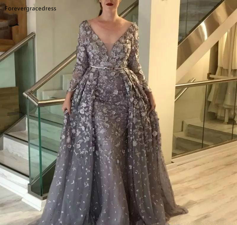 Vintage Gray Mother Of The Bride Dresses A Line Long Sleeves Formal Wedding Party Gowns Plus Size Custom Made