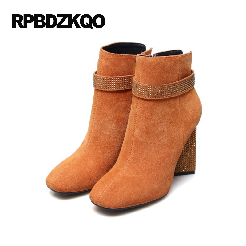 Shoes 2017 Fashion High Heel Fur Booties Orange Rhinestone Women Boots Winter Ankle Fall Crystal Square Toe Chunky Genuine crystal suede nude pink chunky heel ankle boots women round toe autumn winter super high heel booties rhinestone fleeces shoes