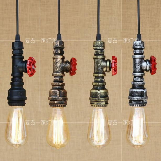 Loft industrial Iron water Pipe steam punk Vintage pendant lamp cord E27 led lights for personalized bar restaurant cafe WPL272