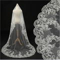 Luxury Wedding Veil Lace Cathedral 2015 Beaded Sequined Ivory Tulle Head Wear Bridal Wedding Accessories mantilla de novia