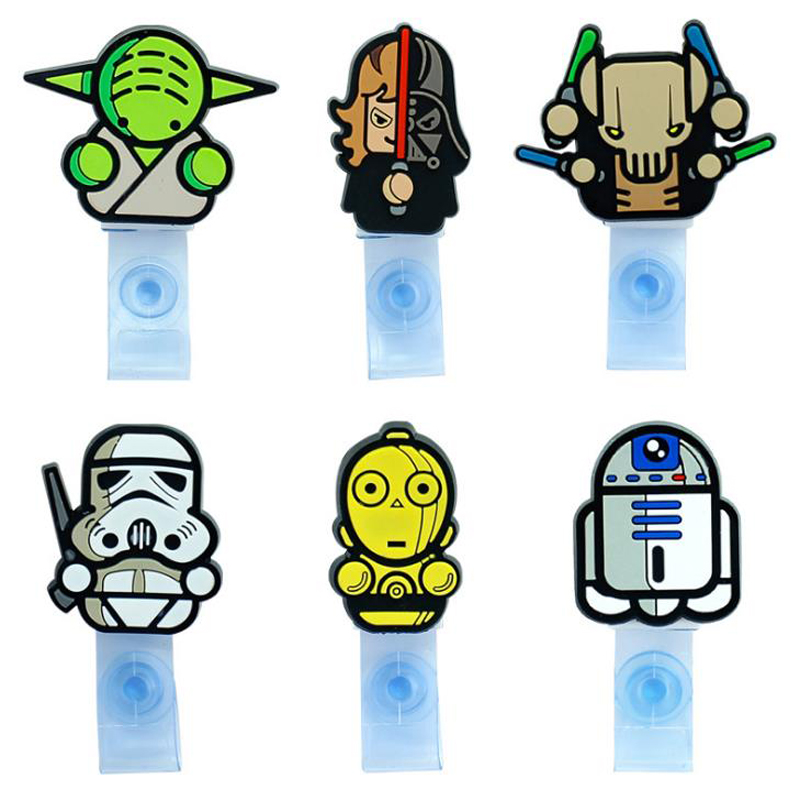 1 Pcs Cartoon Star Wars Transparent Badge Reel Scroll Student Nurse Exhibition ID Business Card Badge Holder Clips Stationery