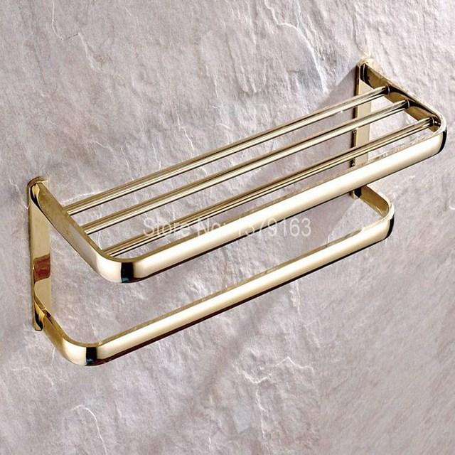 bathroom accessory luxury gold color brass wall mounted bathroom large towel rail holder storage rack shelf