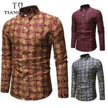 2019 Spring New Men's Floral Printed Shirt Male Long Sleeve 3D Print Long Sleeve Shirt Men Slim Fit Flower Shirt Tops M-3XL stylish shirt collar slimming flower print long sleeve polyester shirt for men