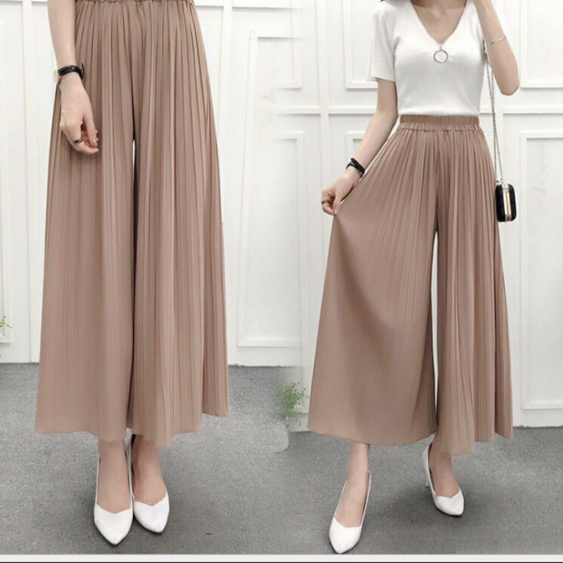 Women's Summer High Waist Was Thin Casual Loose Trousers Ladies Korean Version of The Large Size Chiffon Pleated   Wide     Leg     Pants