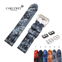 CARLYWET 24mm High Quality Camo Color Waterproof Silicone Rubber Replacement Watch Band Strap Band Loops For Panerai Luminor
