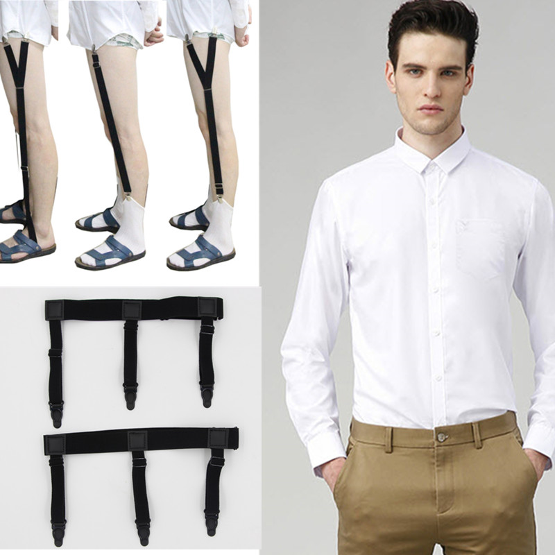 Mens Shirt Stays Garters Elastic Nylon Adjustable Shirt