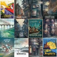 Cartel de cartón blanco de Harry Potter Hogwarts Express Diagon Alley Hogsmeade etc carteles de película 42*30 cm sin marco
