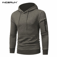Mens Hoodies 2018 New Brand Solid Color Plaided Hooded Hoodie Men Fashion Leisure Casual Tracksuit Male