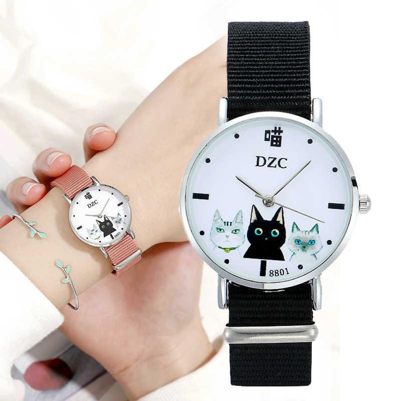 Presente feminino relógios de pulso de quartzo relogio feminino marca superior senhoras de luxo relógios gato dos desenhos animados meninas relógio cinta de náilon