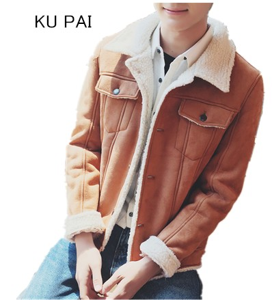 217 winter Korean lambs plush lapel coat young loose suede men jackets plus velvet coat jacket tide