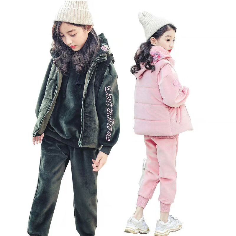 Girls Clothes Sets Winter Girls Sport Suit Children Clothing Hooded Velvet Thick 3pcs Kids Tracksuit Teenager Kids Costume 10 Y girls clothes sport suit children clothing sets tracksuit for girls waterproof raincoat outfits suits costume for kids clothes