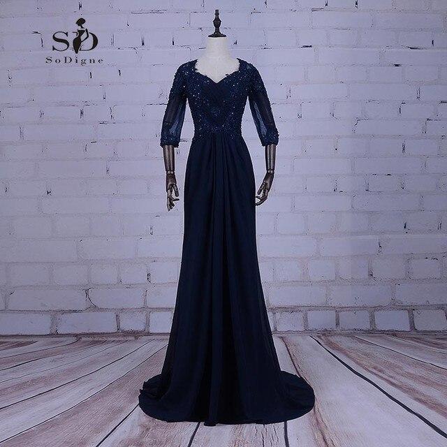 7f221ab0e12 Темно-синие Вечерние платья больших размеров дешевые длинное шифоновое  платье Бусины Мать платье невесты Замочная