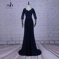 Navy Blue Evening Dresses Plus Sizes Cheap Chiffon Long Gown Beads Mother of the bride dress Keyhole Backless Lace Appliques