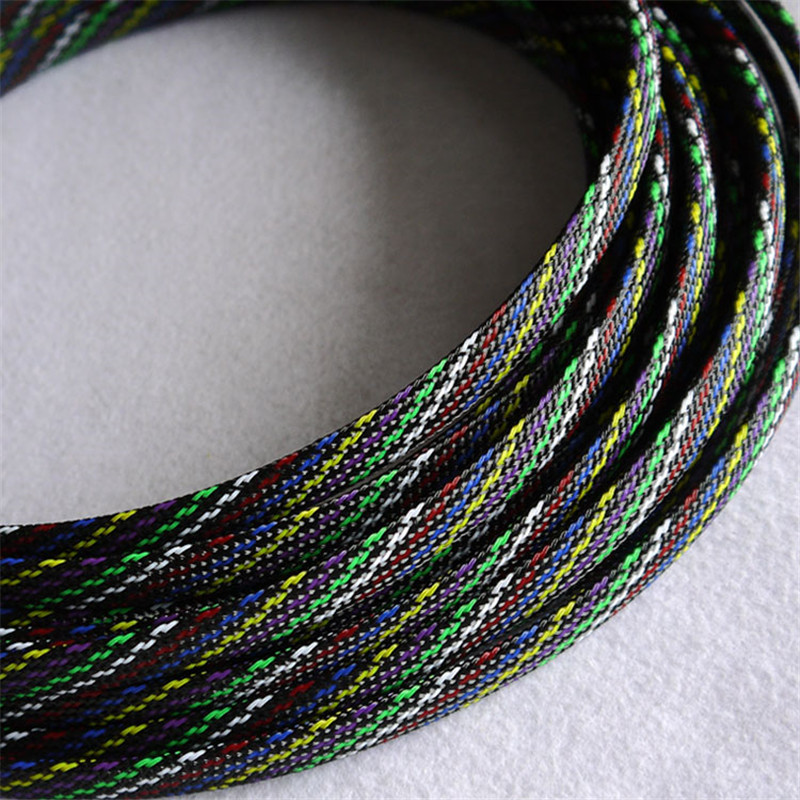 7 colors mixed - High quality 10mm Braided PET Expandable Sleeving High Density Sheathing Plaited Cable Sleeves 1M