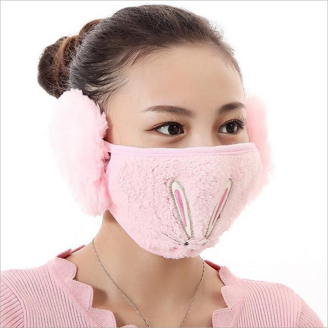 Cartoon rabbit design Ear protective mouth mask Windproof earmuff anti dust winter masks girls Anti Haze Flu cotton Face masks 3