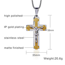 Jesus Cross Necklace Pendant Stainless Steel With 24 inches Chain