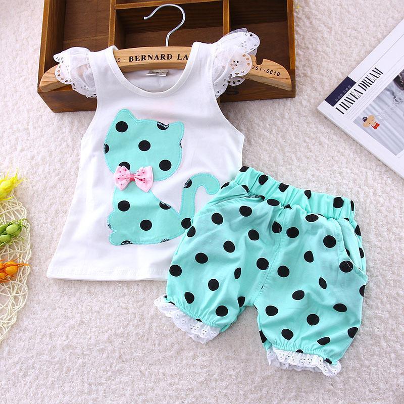 2018 summer Korean baby girls clothing set children bow cat shirt+shorts suit 2pcs kids polka dot clothes set suit
