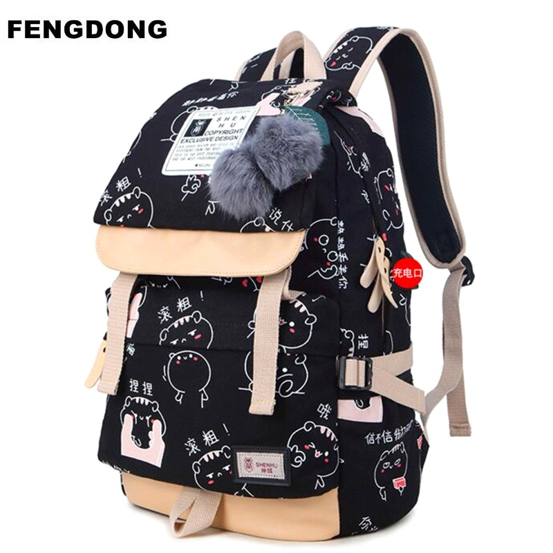 Fengdong Women USB Backpack Canvas Cute Cartoon Printing School Bag For Teenagers Girl Student  Book Bag Travel Mochila Rucksack fashion women pu leather panda backpack teenagers girls cartoon school bags student book bag cute black white patchwork design