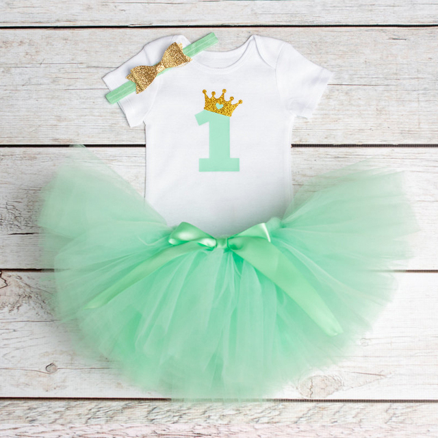 Baby Girl Clothes Brand New Born Baby 1 Year Birthday Outfits Infant Clothing Baby Sets Romper+Headband+Tutu Skirt Baby Suits 4