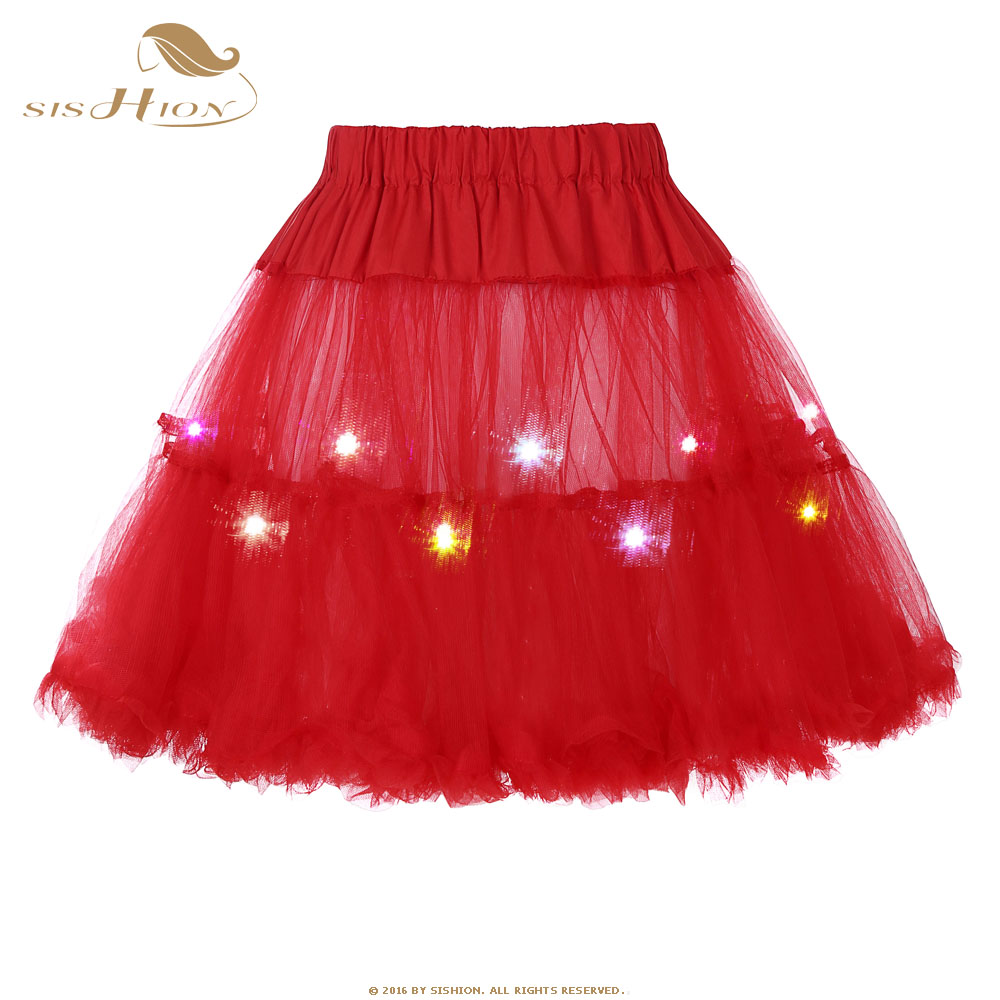 SISHION Red Womens Led Petticoat Mini Skirt Female Sexy Kilt Mini Tutu Skirts LED Decoration Belly Dance Colorful Skir 2 Layers