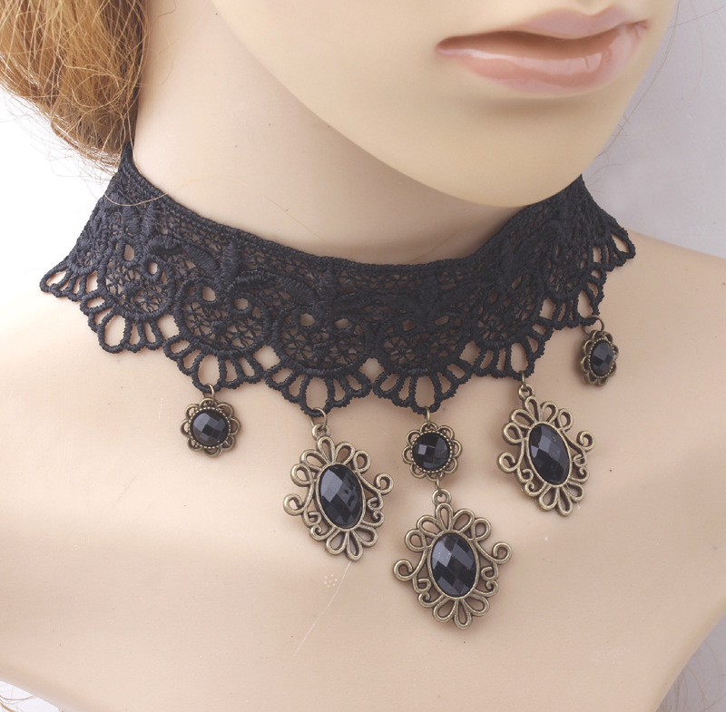 Knock classic black chain bead pendant gothic lace necklace for women party Jewelry