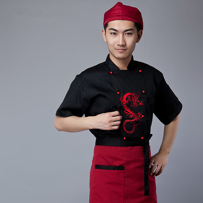 중국 스타일의 짧은 소매 요리사 서비스 자수 드래곤 호텔 작업복 레스토랑 작업복 툴링 유니폼 쿡 탑