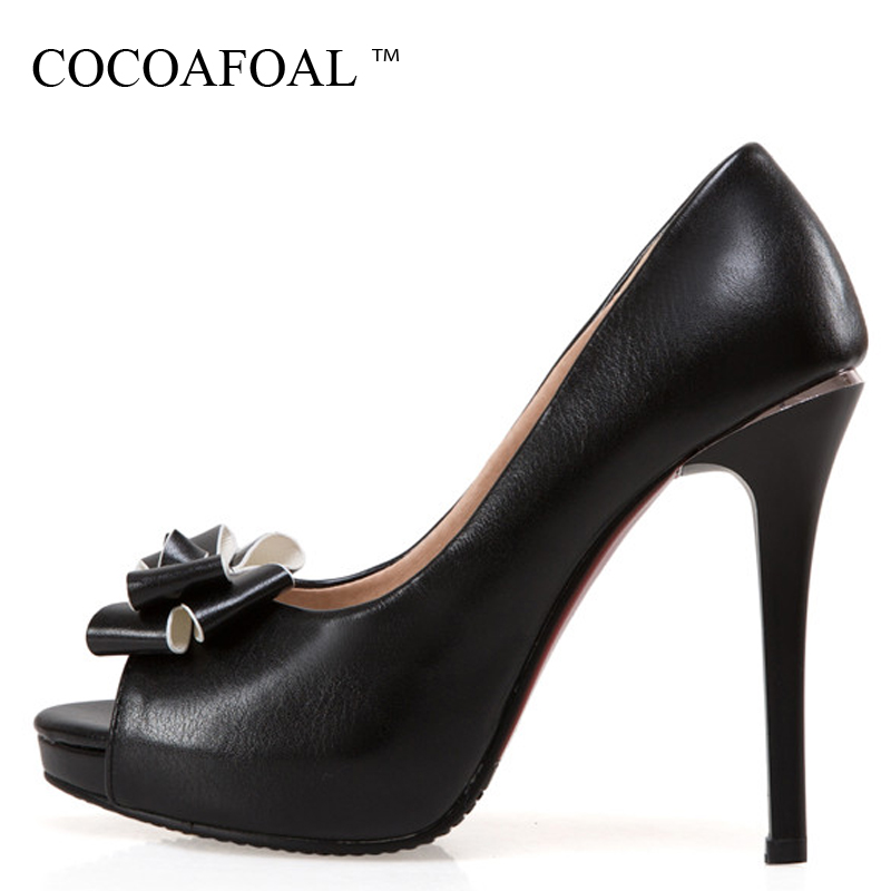 COCOAFOAL Woman Open Toe Heels Shoes Plus Size 33 - 43 Black White Pink Wedding Pumps Party Stiletto Butterfly Knot Pumps 2018 keaiqianjin woman butterfly knot genuine leather pumps plus size 33 43 blue high heels shoes spring square toe wedding pumps