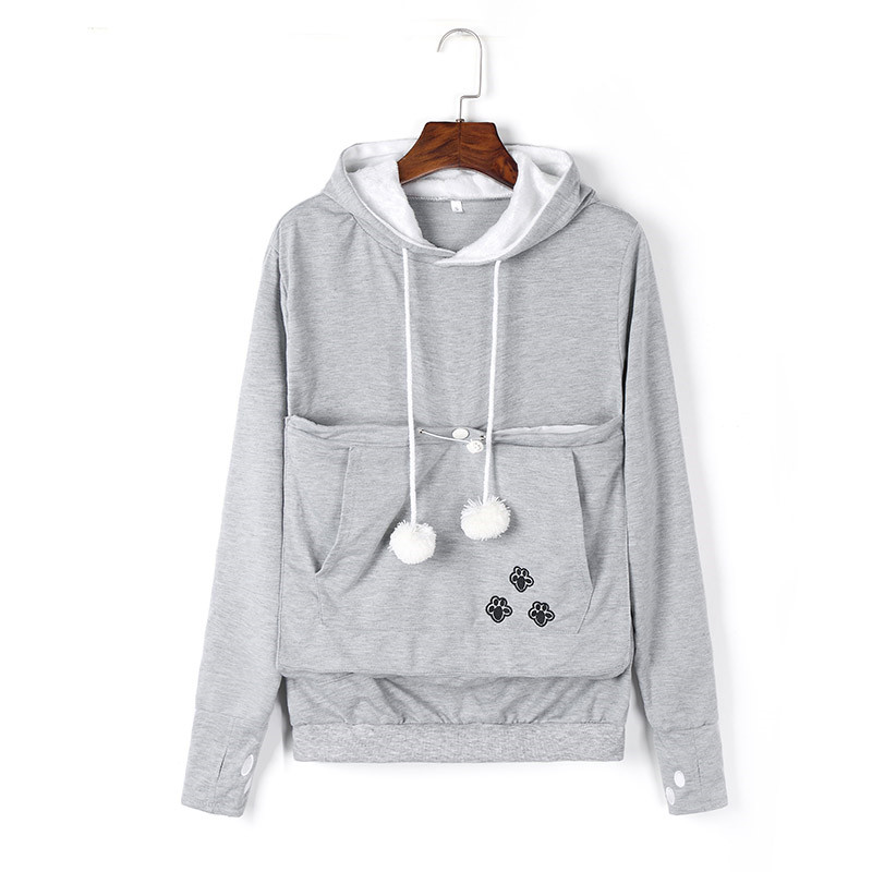 Mewgaroo Nyangaroo Cat Dog Pet Casual Unisex Kangaroo Coat Hoodies Sweatershirts Kangaroo Grey Cat Casual Hoodie Sweatershirts ...