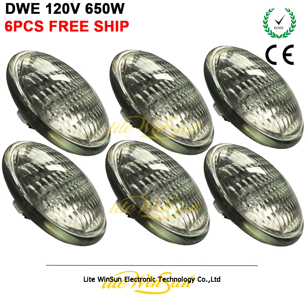 Litewinsune 6PCS Free Ship Par Lamp GE DWE 120V 650W Halogen Metal Halide Lamp Source For Theater Audience Blinder Lighting