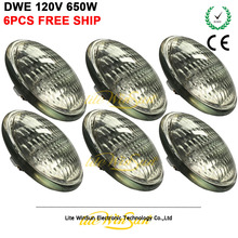 цены Litewinsune 6PCS Free Ship Par Lamp GE DWE 120V 650W Halogen Metal Halide Lamp Source for Theater Audience Blinder Lighting
